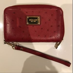 Michael Kors Red Ostrich Print Leather Wallet